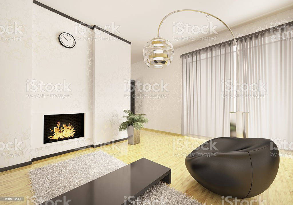 Interior of modern living room 3d render royalty-free stock photo