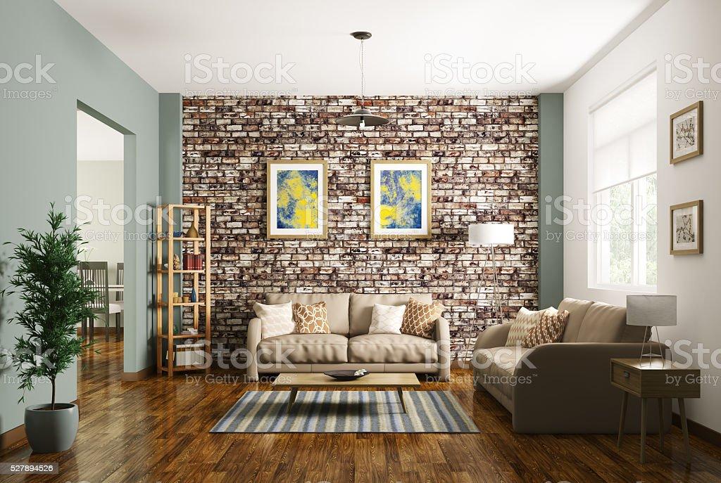 Interior of modern living room 3d rendering stock photo
