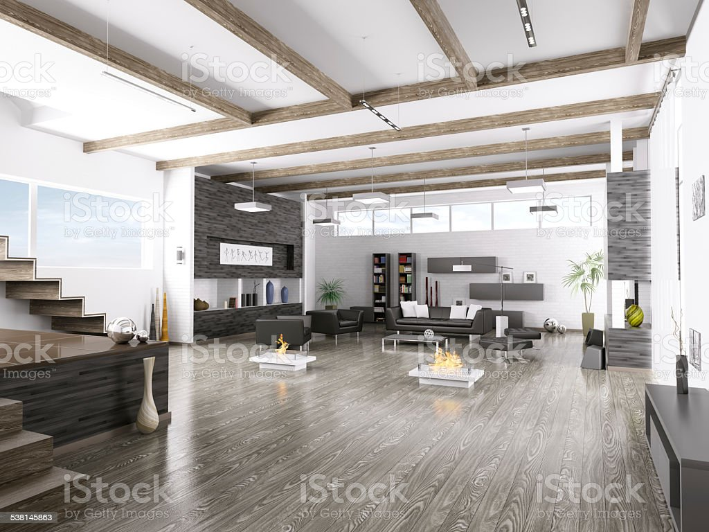 Interior of modern living room vector art illustration