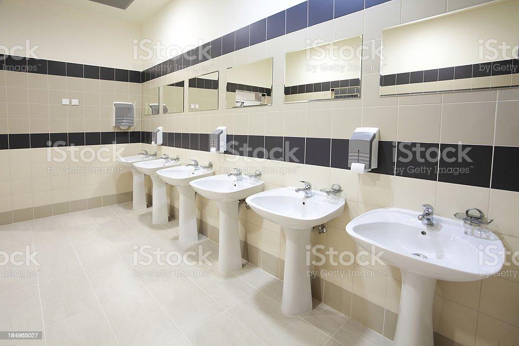 Interior of modern public restroom stock photo