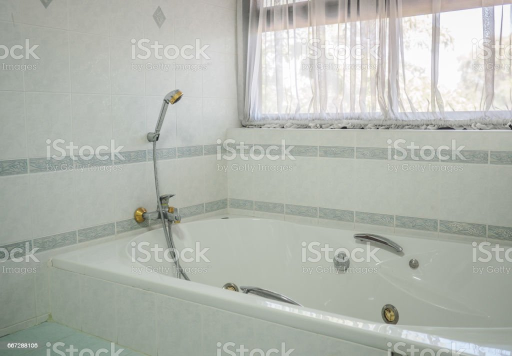 Interior of modern style restroom. stock photo