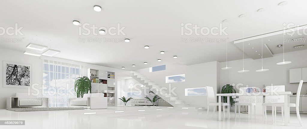 Interior of modern white apartment panorama stock photo