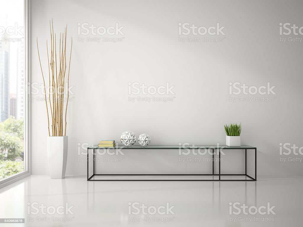 Interior of modern white room with console sofa 3D rendering stock photo