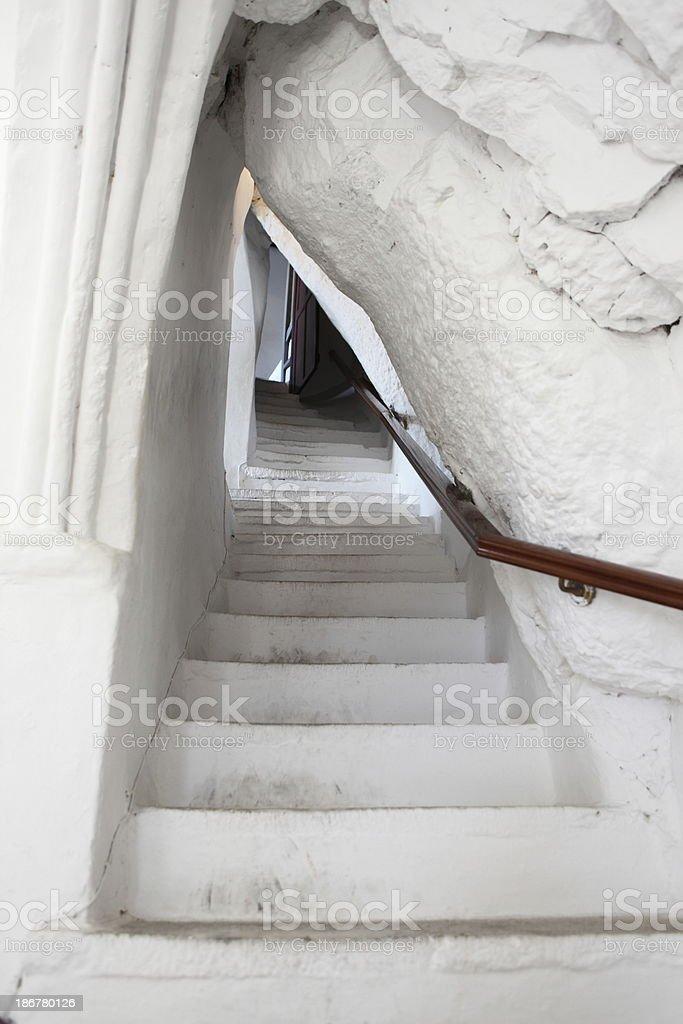 Interior of Monastery Moni Chozoviotissa, Amorgos, Greece stock photo