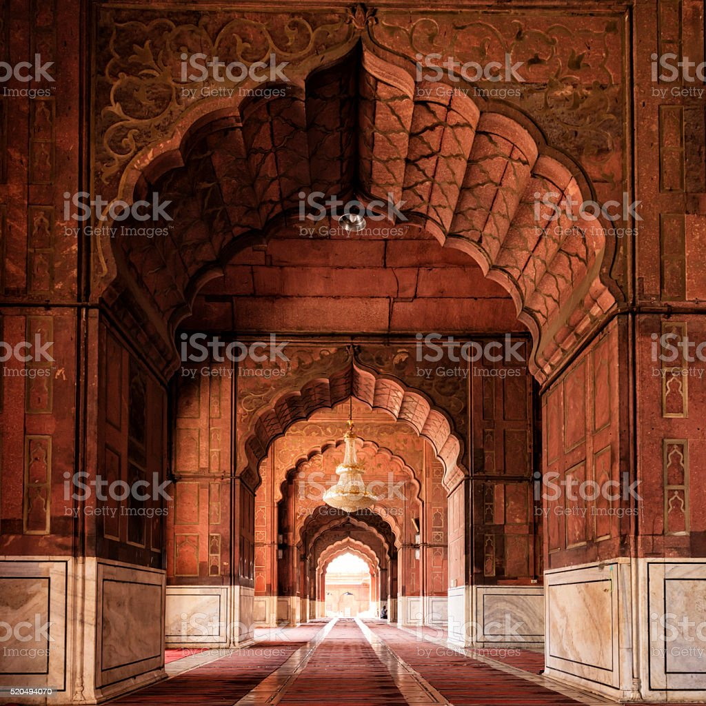 Interior of Mosque Jama Masjid, Delhi, India stock photo