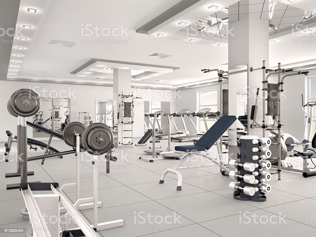 interior of new modern gym with equipment. stock photo