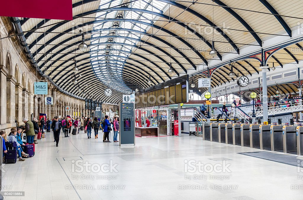 Interior of Newcastle Railway Station stock photo