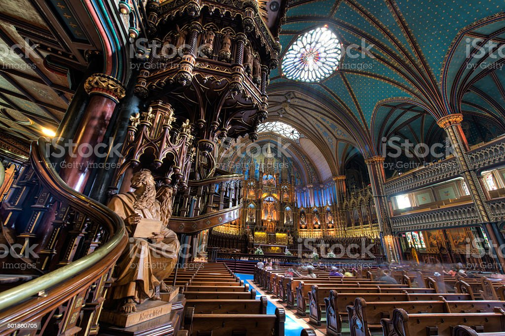 Interior of Notre Dame Basilica, Montreal, Quebec, Canada stock photo