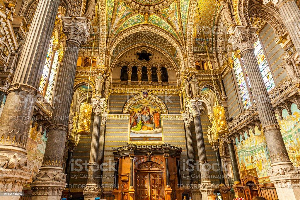 Interior of Notre-Dame de Fourviere Basilica in Lyon stock photo