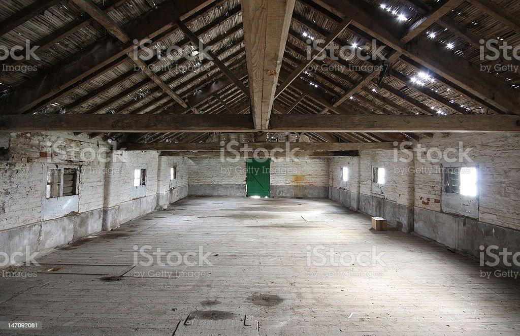 Interior of Old Barn stock photo