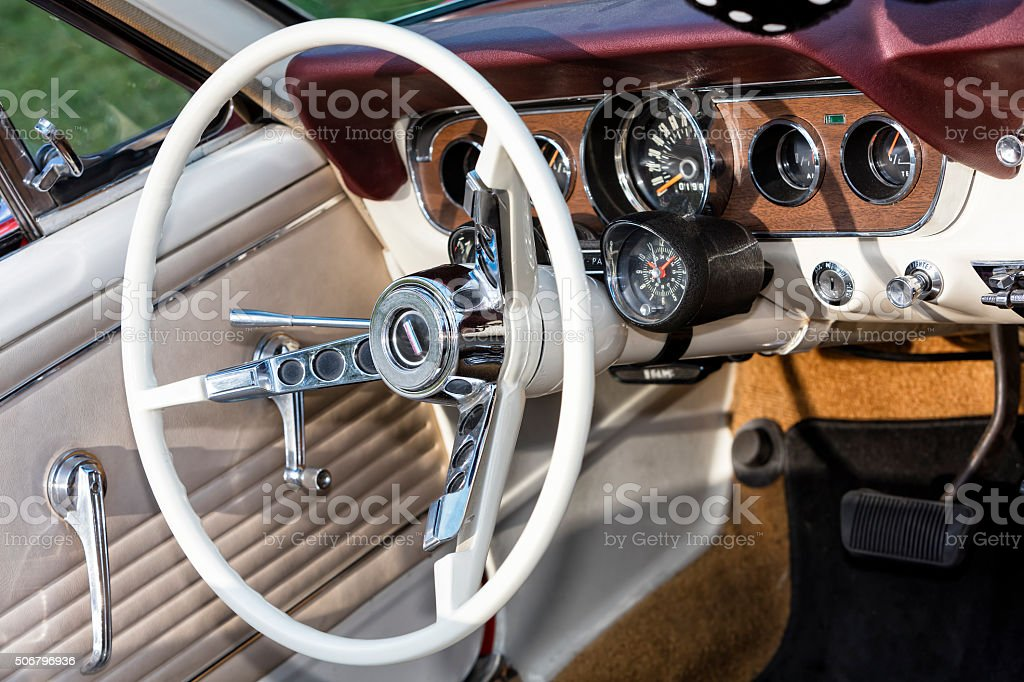 Interior of Old Car stock photo