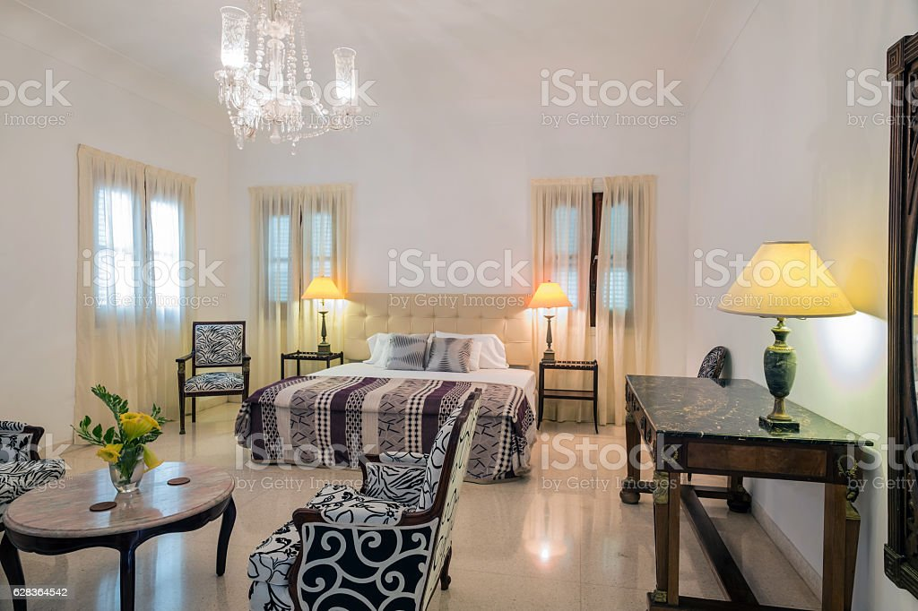Interior of Old Havana Villa stock photo
