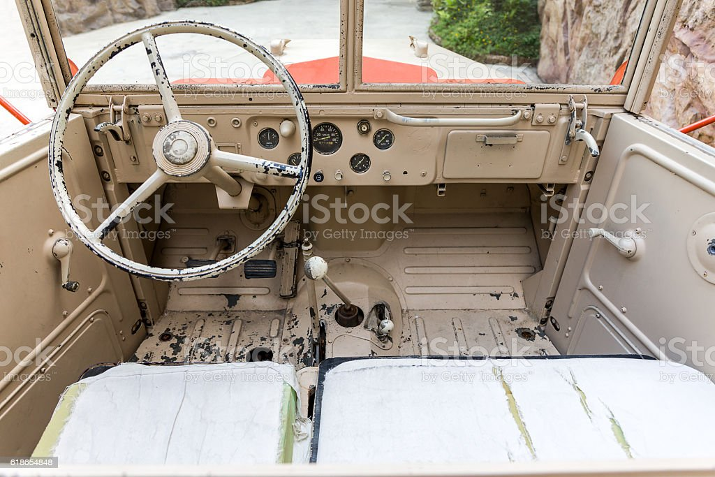 Interior of Old Military Vehicle stock photo
