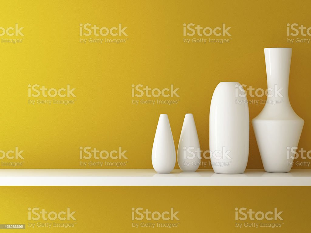 Interior of orange wall  and ceramic on shelf decorated stock photo