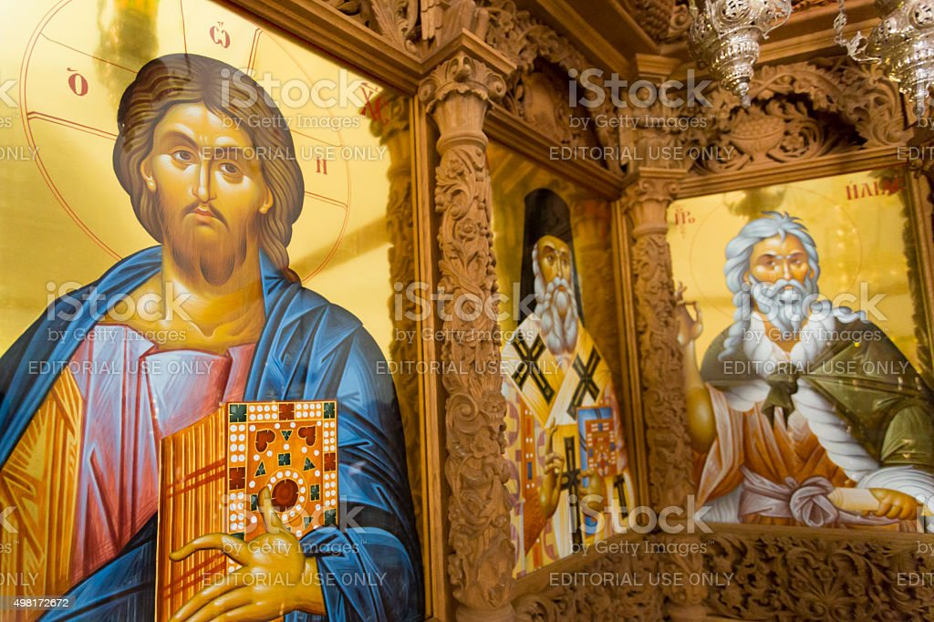 Interior of orthodox church with religious icons stock photo