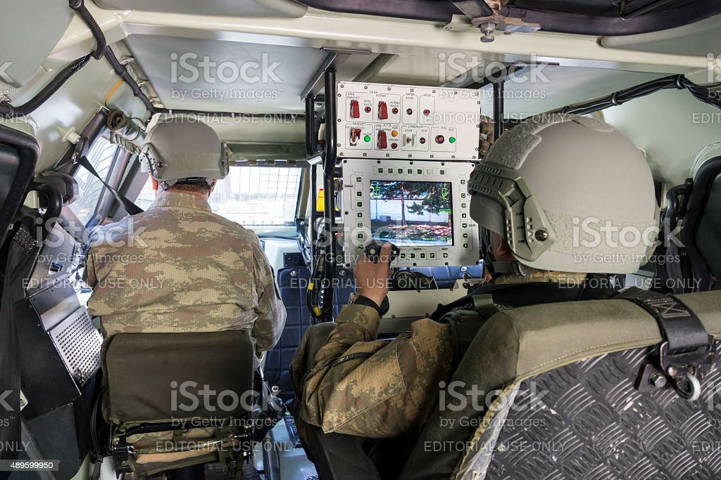 Interior of Otokar Cobra armored vehicle stock photo