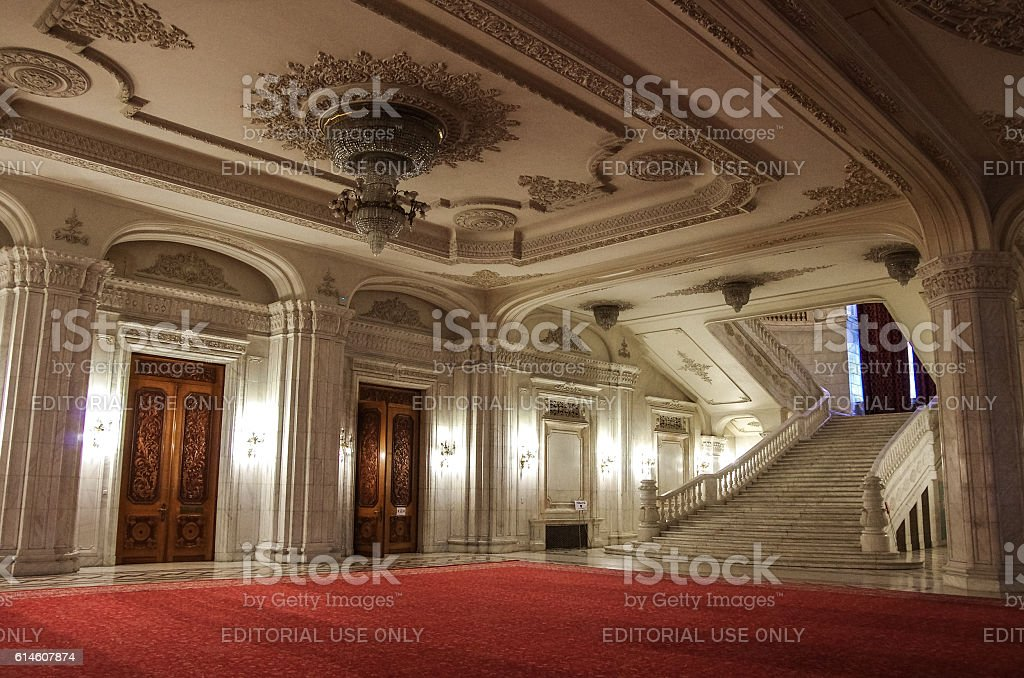 Interior of Palace of Parliament on  in Bucharest. stock photo