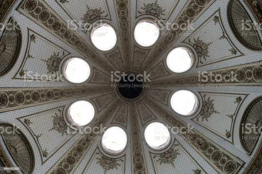 Interior of palatial dome skylights stock photo