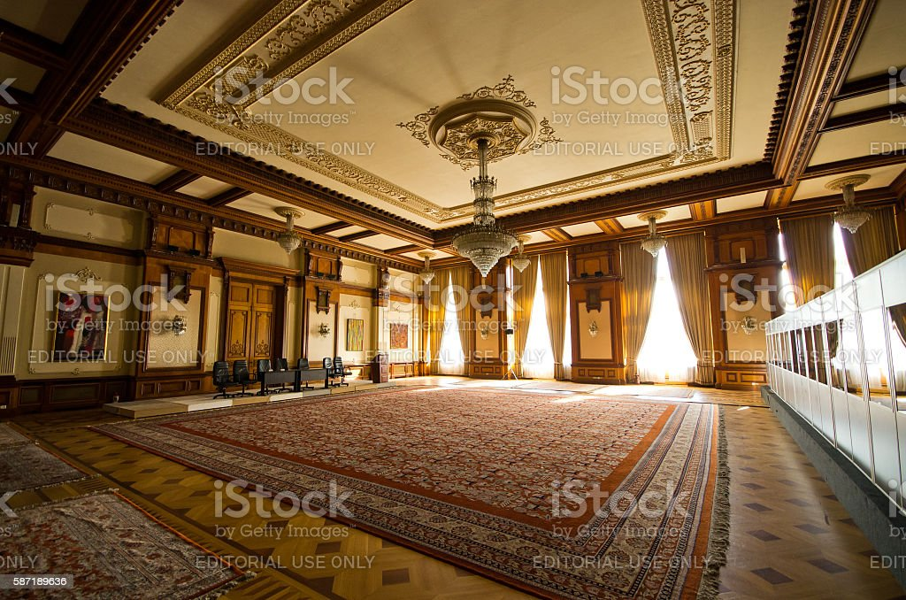 Interior of parliament building in Bucharest, Romania stock photo