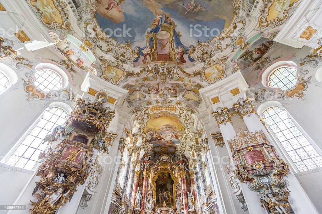 Interior of Pilgrimage Church Germany stock photo