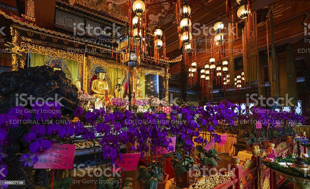Interior of Po Lin Monastery royalty-free stock photo