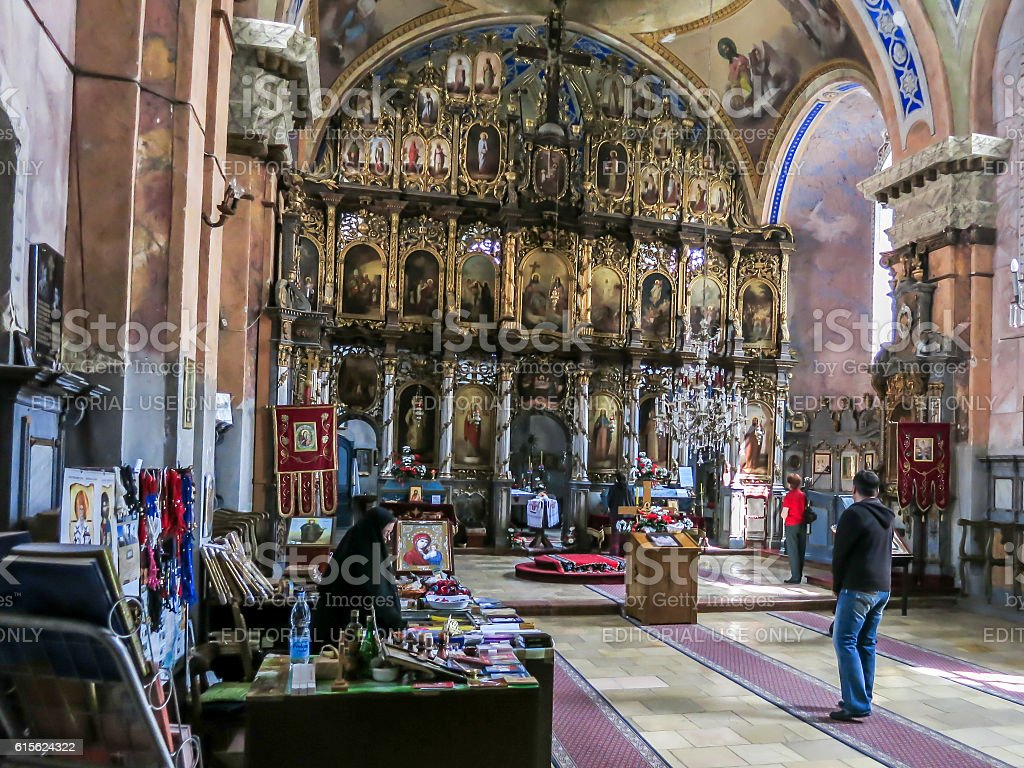 Interior of Ravanica monastery, Vrdnik, Serbia stock photo
