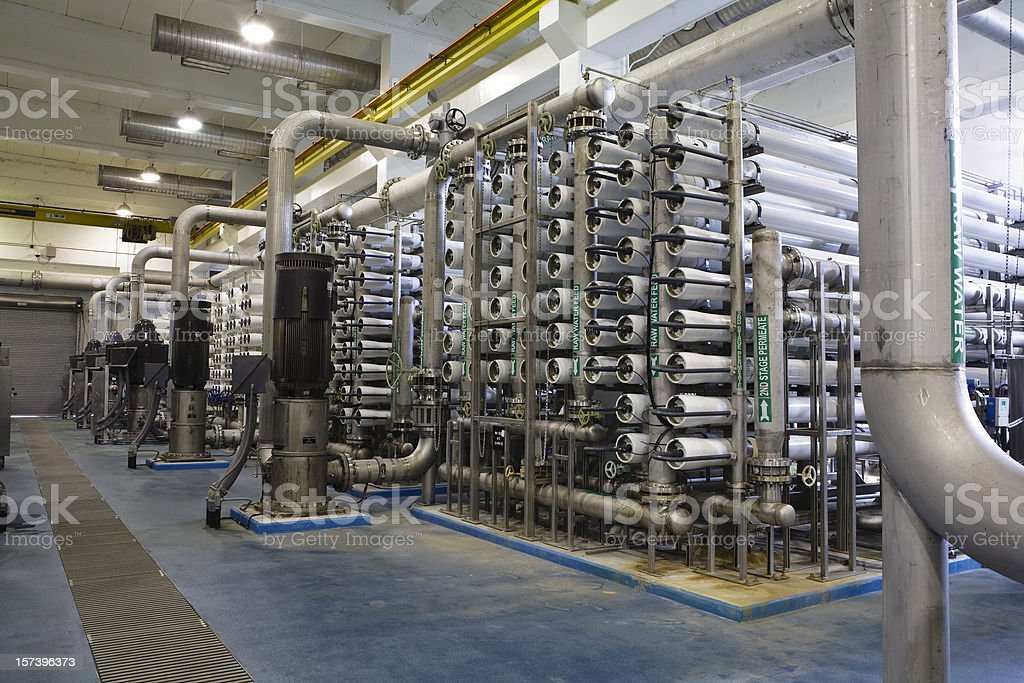 Interior of Reverse Osmosis Water Purification Plant royalty-free stock photo
