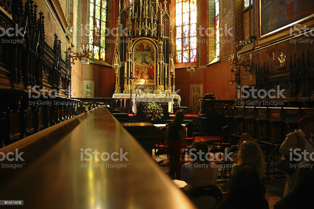 interior of roman catholic cathedral church royalty-free stock photo