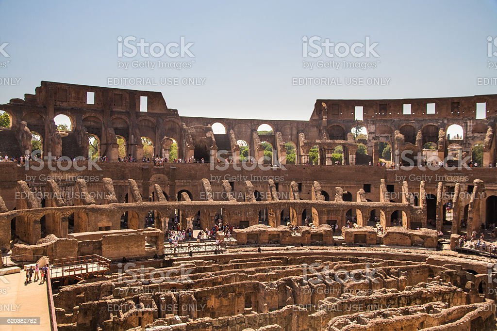 Interior of Roman Colosseum or Coliseum Amphitheatre stock photo