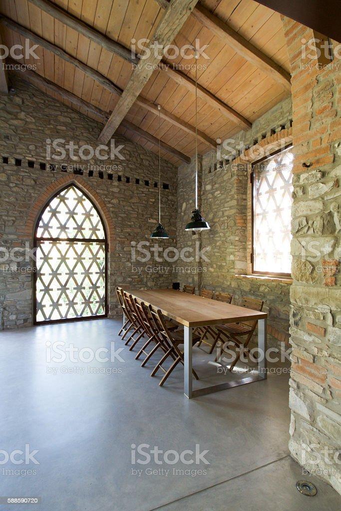 interior of rustic loft. stock photo