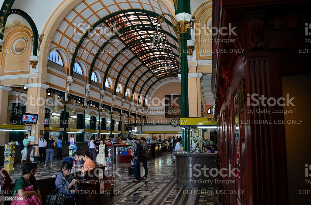 Interior of Saigon Central Post Office Ho Chi Minh Vietnam stock photo