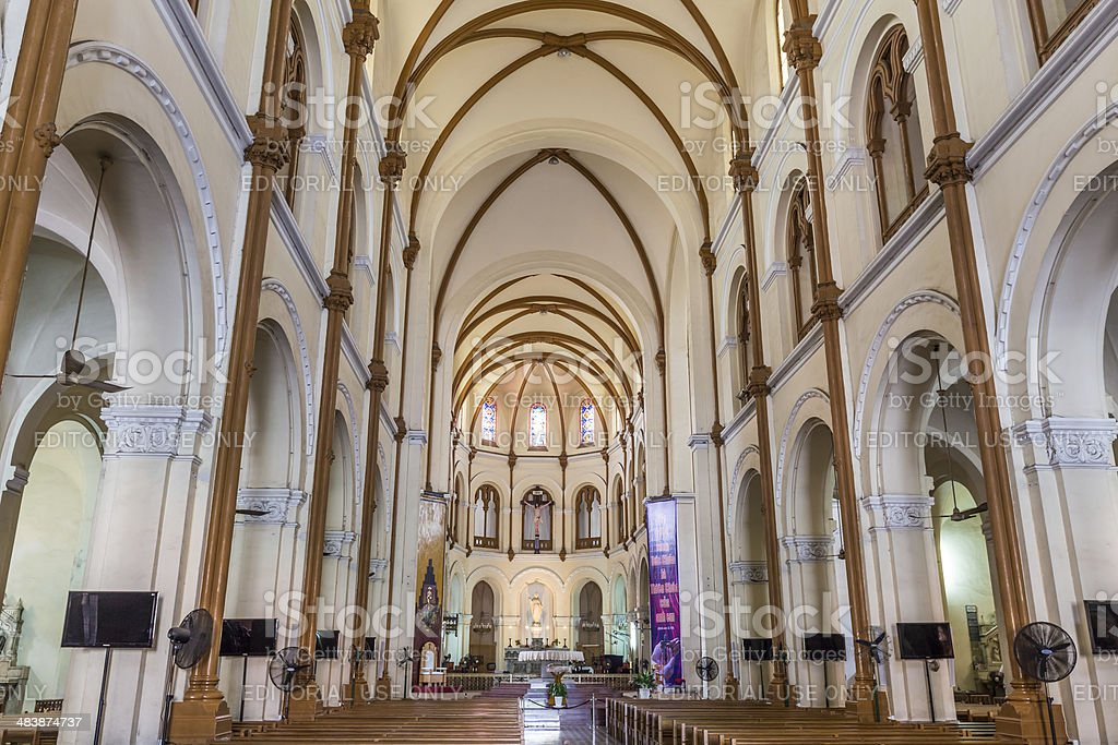 Interior of Saigon Notre-Dame Basilica royalty-free stock photo
