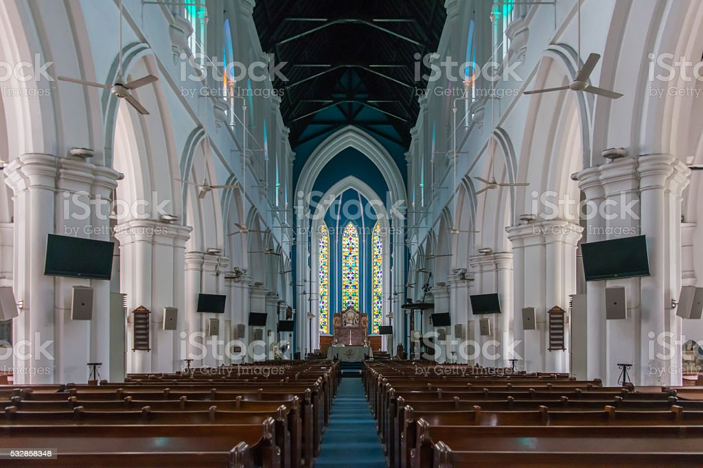 Interior of Saint Andrew Cathedral in Singapore stock photo