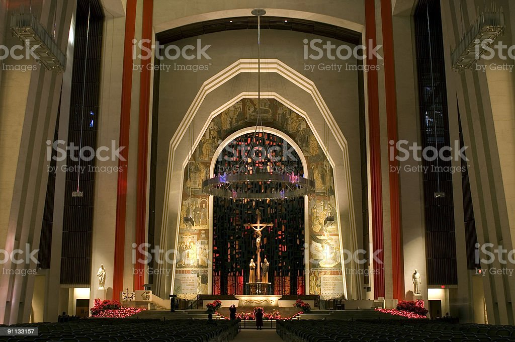 Interior of Saint Joseph Oratory in Montreal stock photo