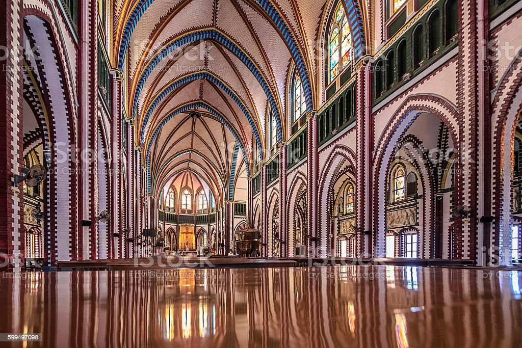 Interior of Saint Mary's Cathedral, Yangon, Myanmar stock photo