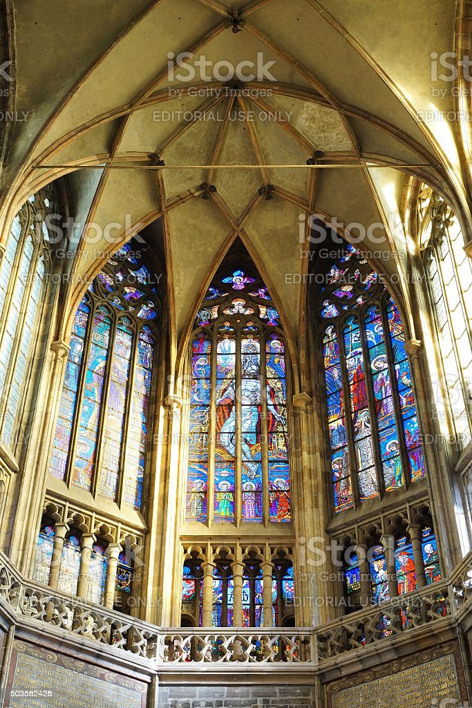 Interior of Saint Vitus Cathedral at the Prague Castle stock photo