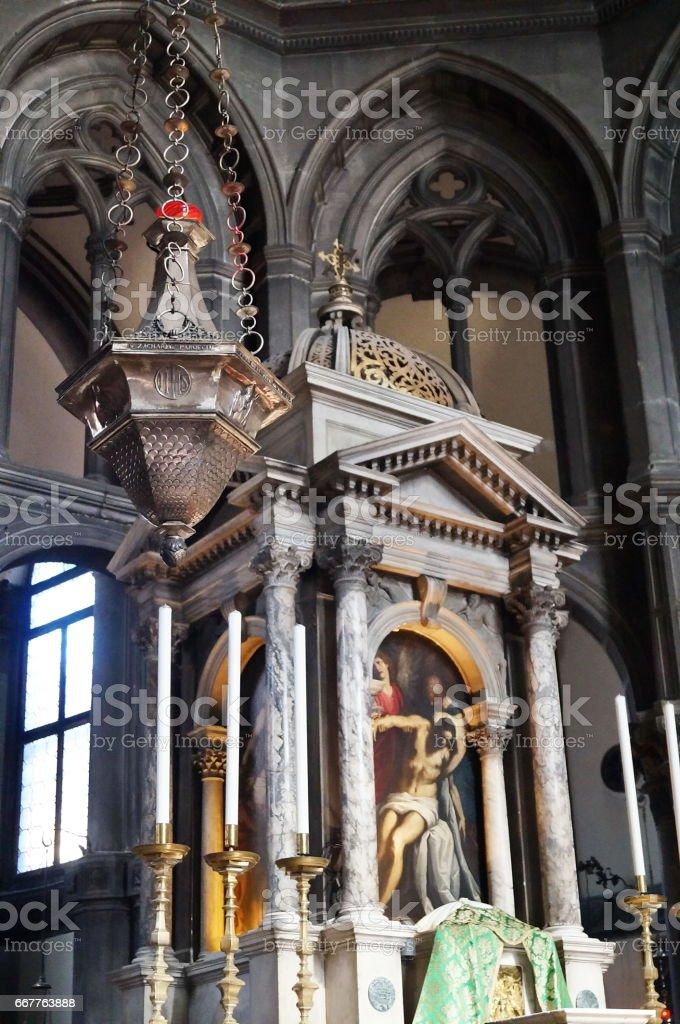 Interior of Saint Zaccaria church, Venice stock photo