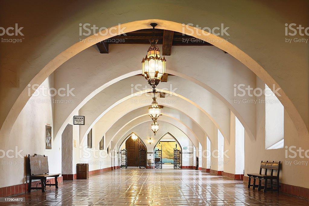 Interior of Santa Barbara County Courthouse, wooden floor stock photo
