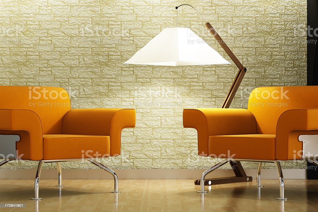 Interior of seating area with modern design stock photo