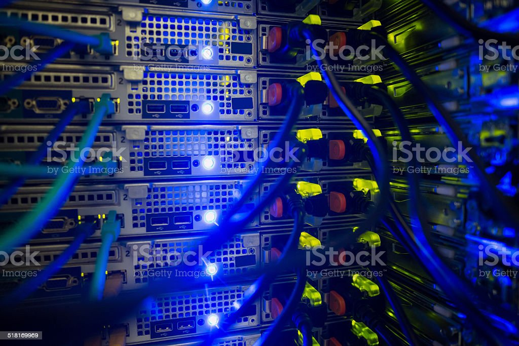 Interior of server with wires blue stock photo
