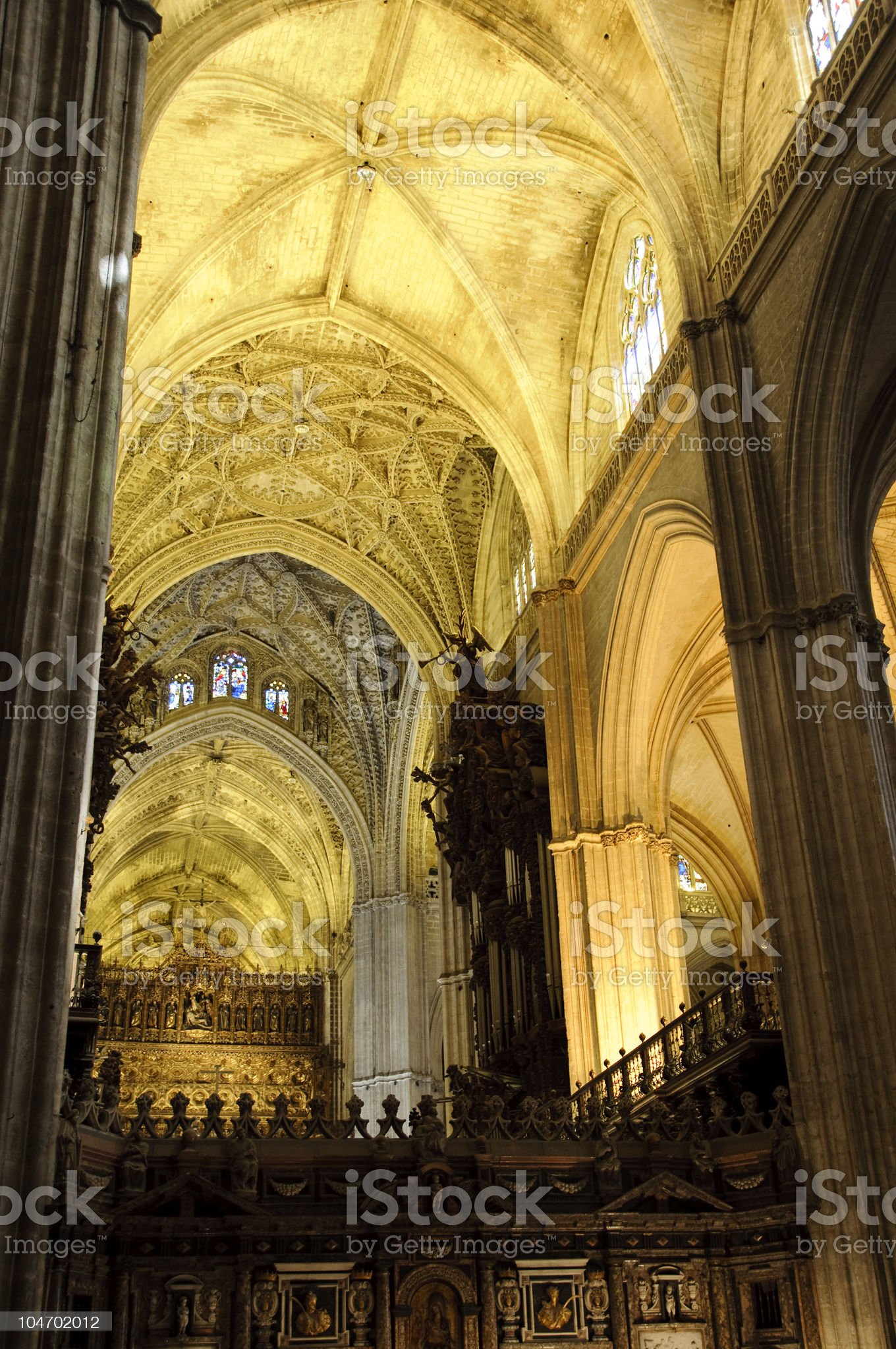 Interior of Seville cathedral, Spain royalty-free stock photo