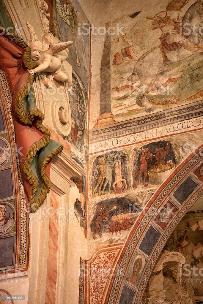 Interior of small italian church. stock photo