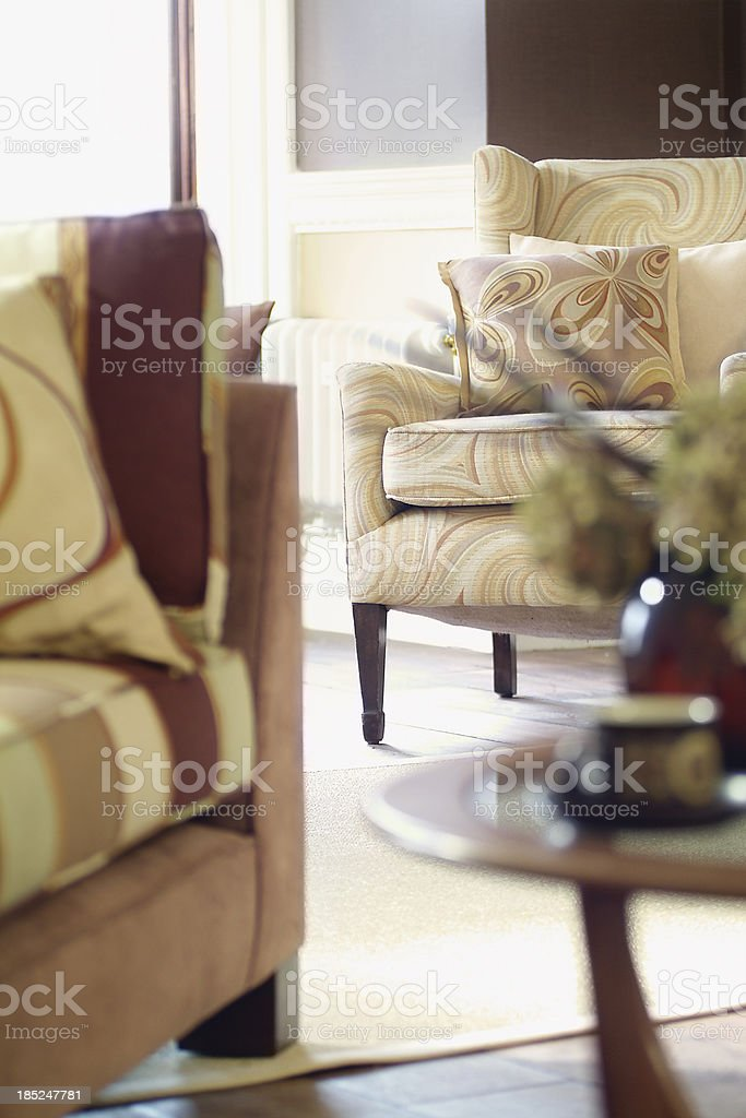 Interior of sofa and chair in living room stock photo