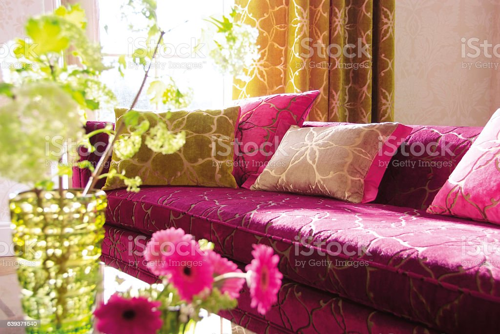 Interior of sofa in living room stock photo