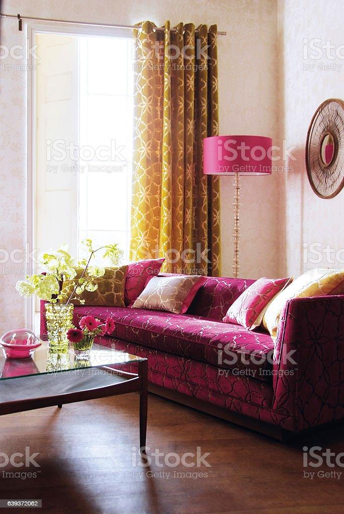 Interior of sofa in living room stock photo