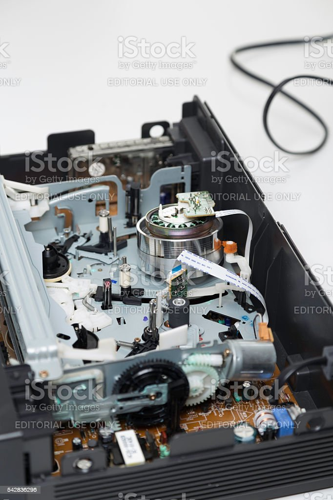 Interior of Sony VHS video cassette recorder stock photo
