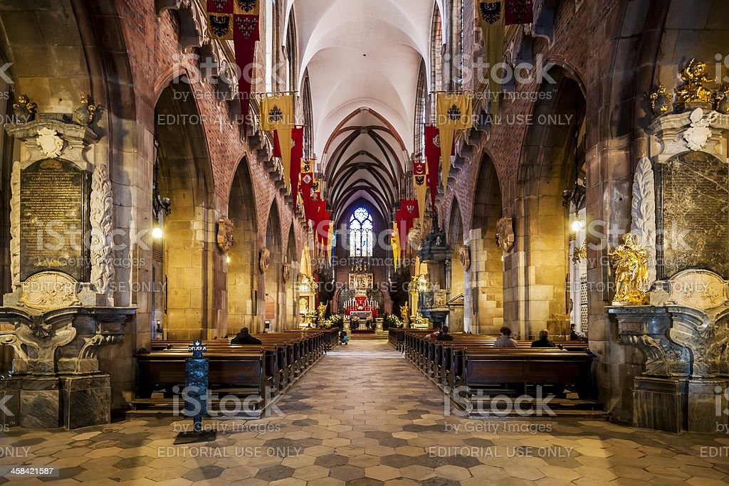 Interior of St. John the Baptist Cathedral in Wroclaw, Poland royalty-free stock photo
