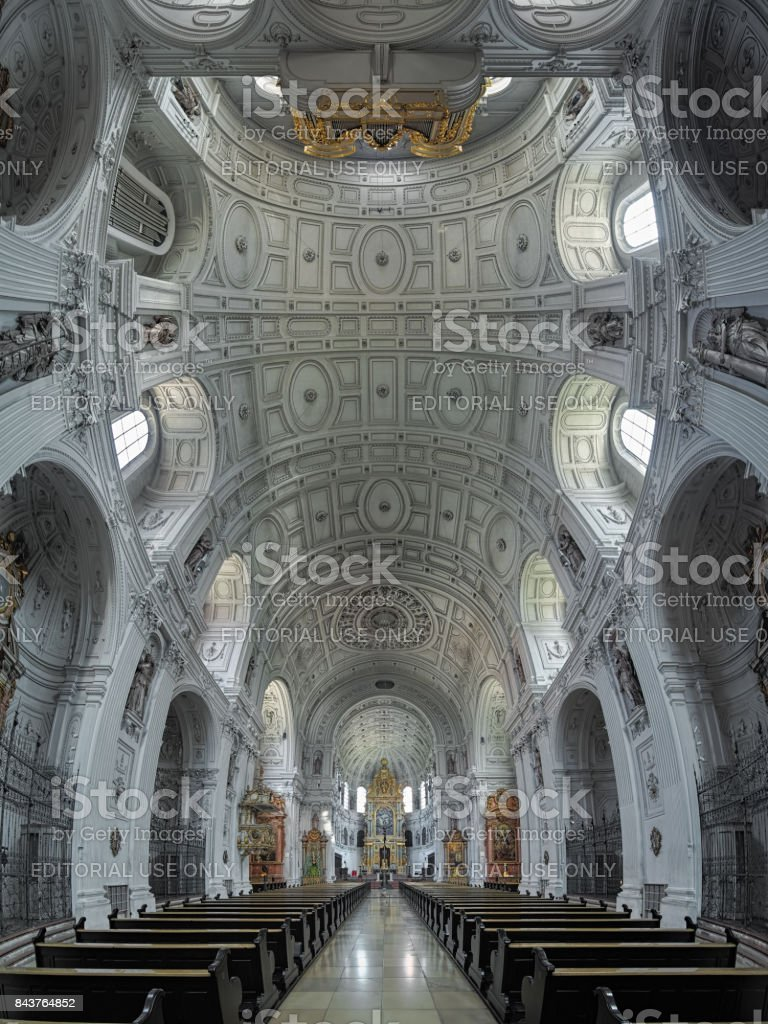 Interior of St. Michael's Church in Munich, Germany stock photo