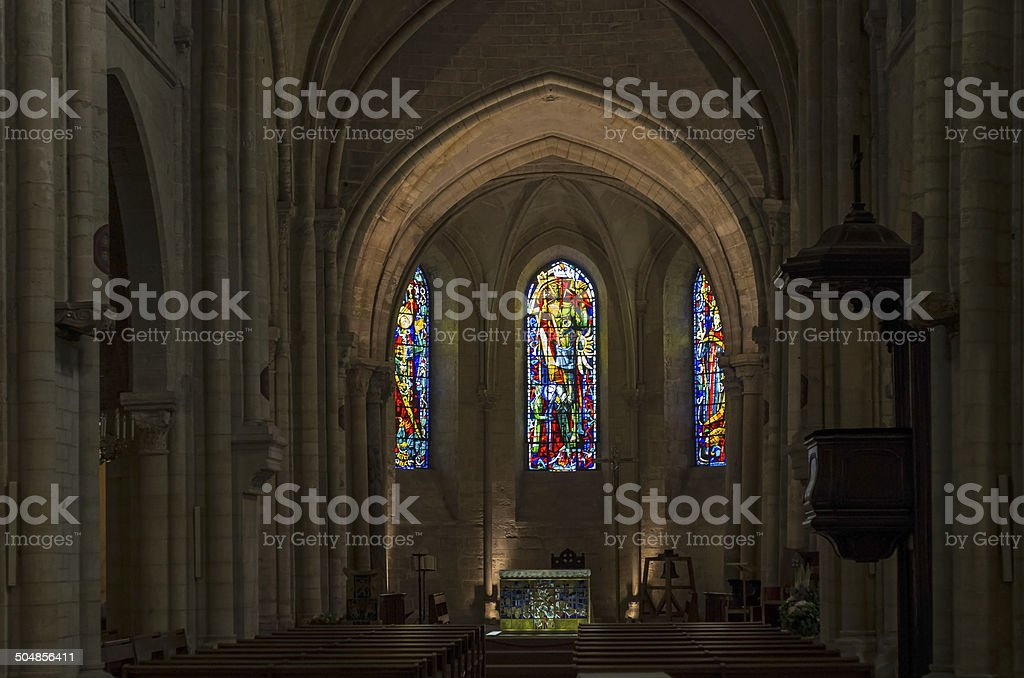 Interior of St. Peter's Church in Montmartre, Paris. stock photo