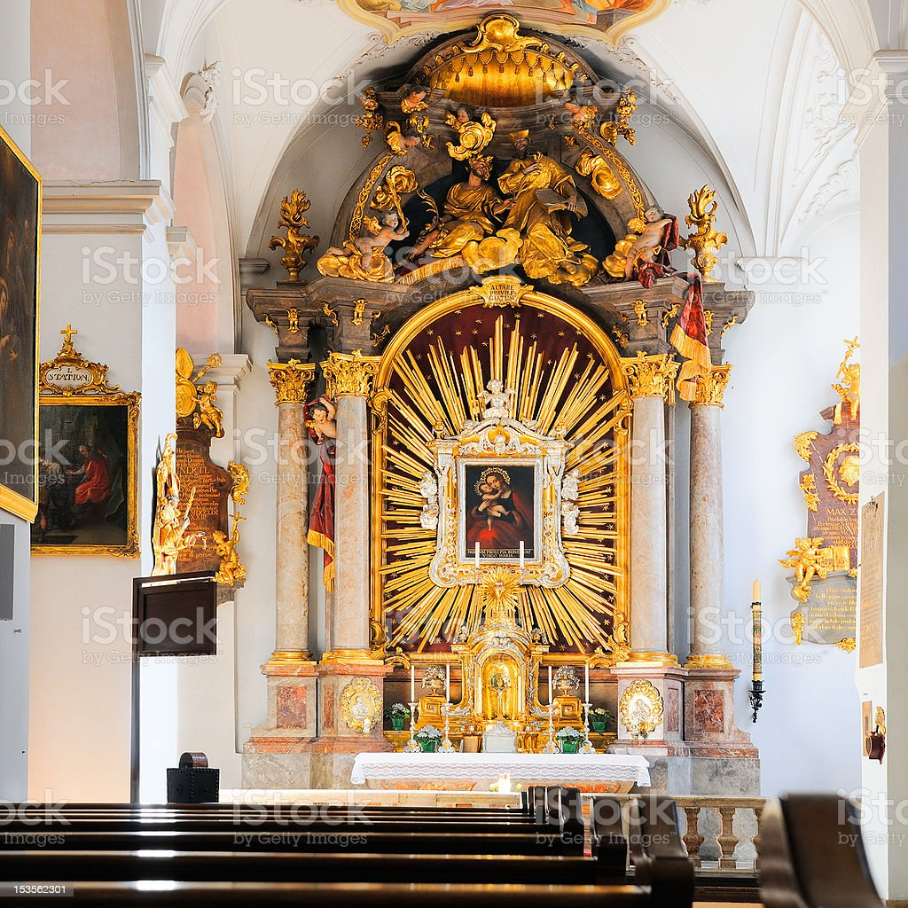 Interior of St. Peter's Church (Munich) royalty-free stock photo